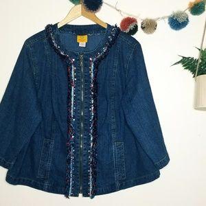 《Ruby Rd》Fringe Beaded Zipup Plus Size Jean Jacket